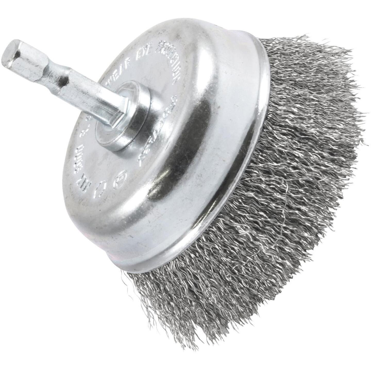 Forney 3 In. Hex .008 In. Drill-Mounted Wire Brush Image 1