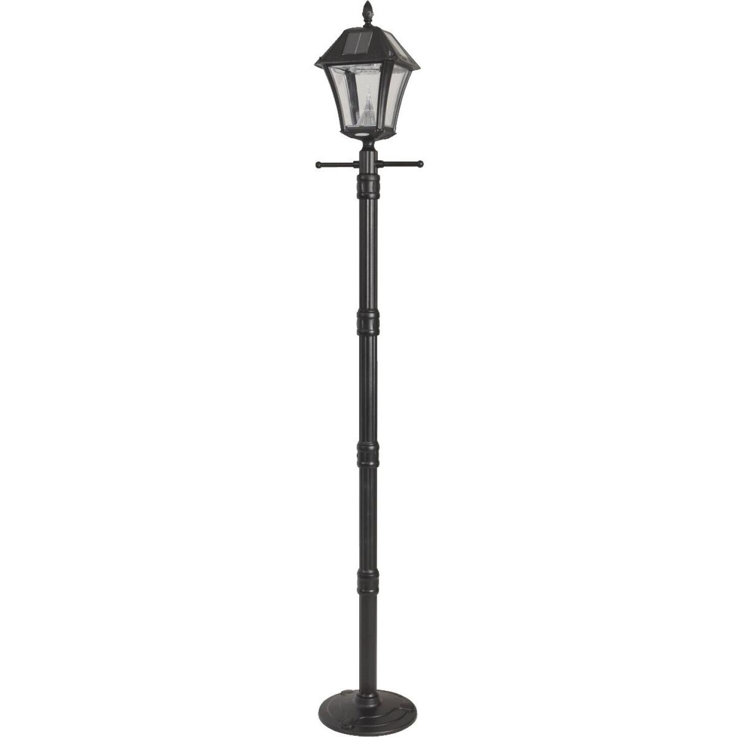 Gama Sonic Baytown II Black Solar Dusk-To-Dawn LED Post Light Fixture with Anchor Image 3