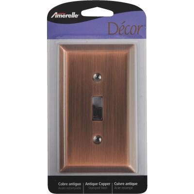 Amerelle 1-Gang Stamped Steel Toggle Switch Wall Plate, Antique Copper
