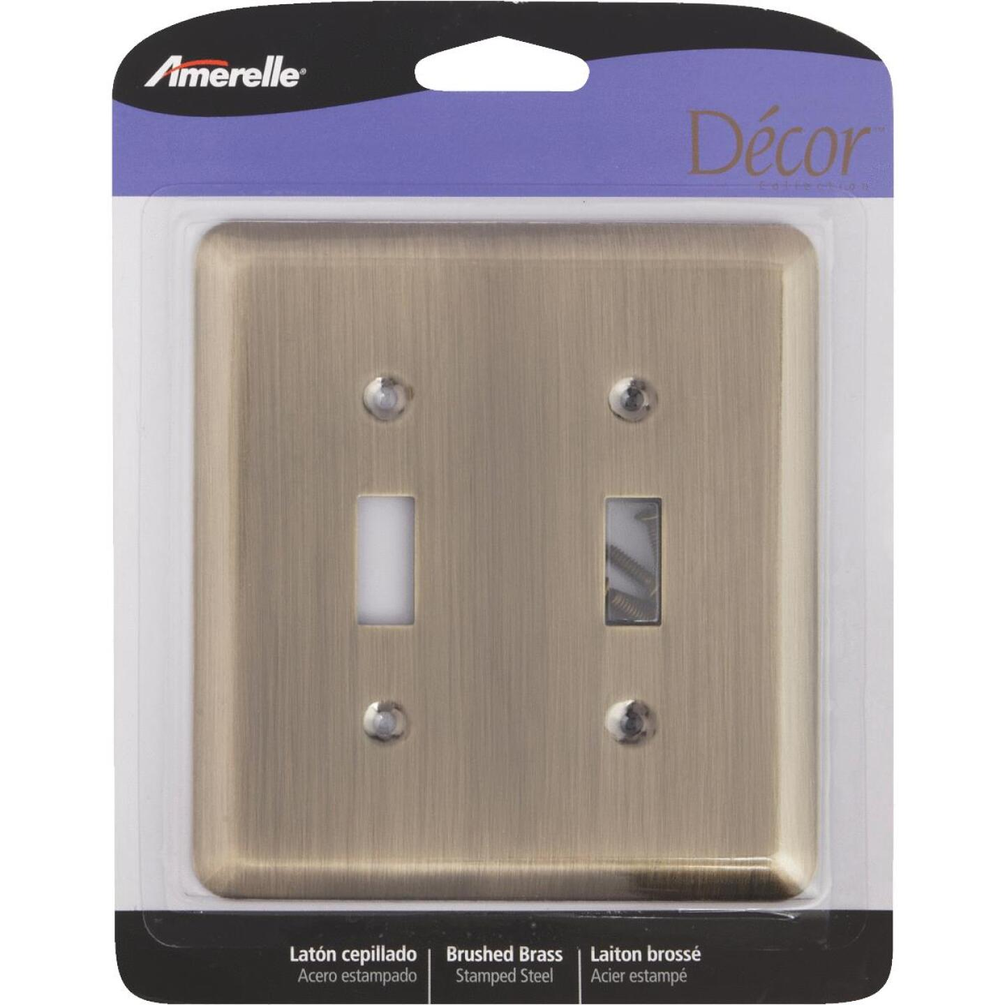 Amerelle 2-Gang Stamped Steel Toggle Switch Wall Plate, Brushed Brass Image 2