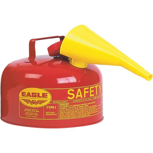 Eagle 2 Gal. Type I Galvanized Steel Gasoline Safety Fuel Can, Red