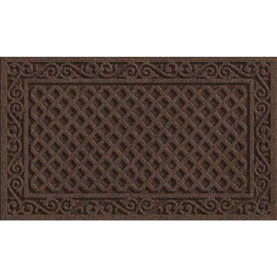 Apache Textures Walnut 18 In. x 30 In. Carpet/Recycled Rubber Door Mat