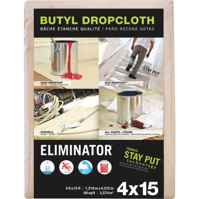 Trimaco Eliminator Butyl-Back Canvas 4 Ft. x 15 Ft. Heavy-Duty Drop Cloth