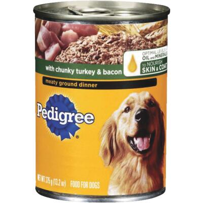 Pedigree Meaty Ground Dinner with Chunky Turkey and Bacon Wet Dog Food, 13.2 Oz.