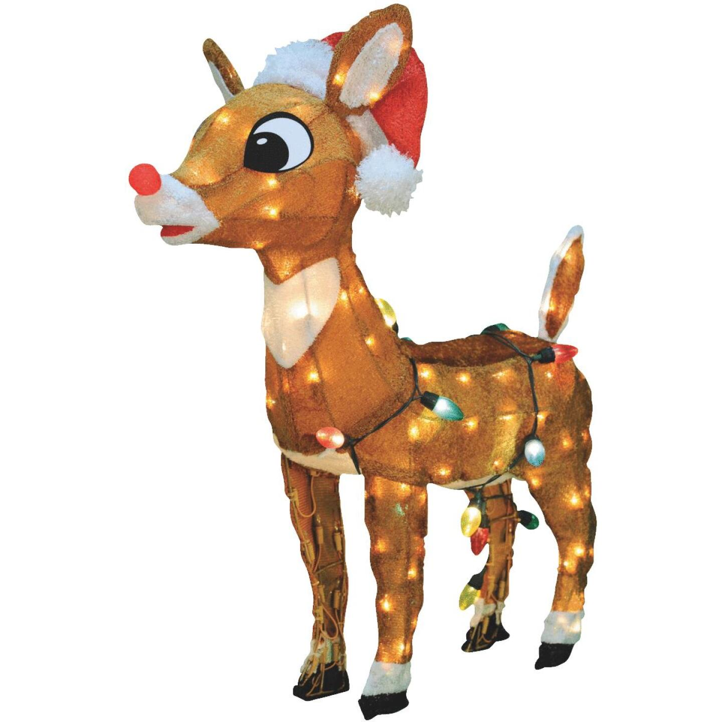 Product Works 24 In. Incandescent Rudolph with Santa Hat Holiday Figure Image 1