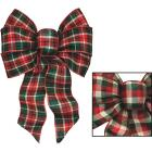 Holiday Trims 7-Loop 8-1/2 In. W. x 14 In. L. Assorted Plaid Fabric Christmas Bow Image 1