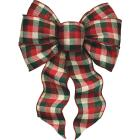 Holiday Trims 7-Loop 8-1/2 In. W. x 14 In. L. Assorted Plaid Fabric Christmas Bow Image 3