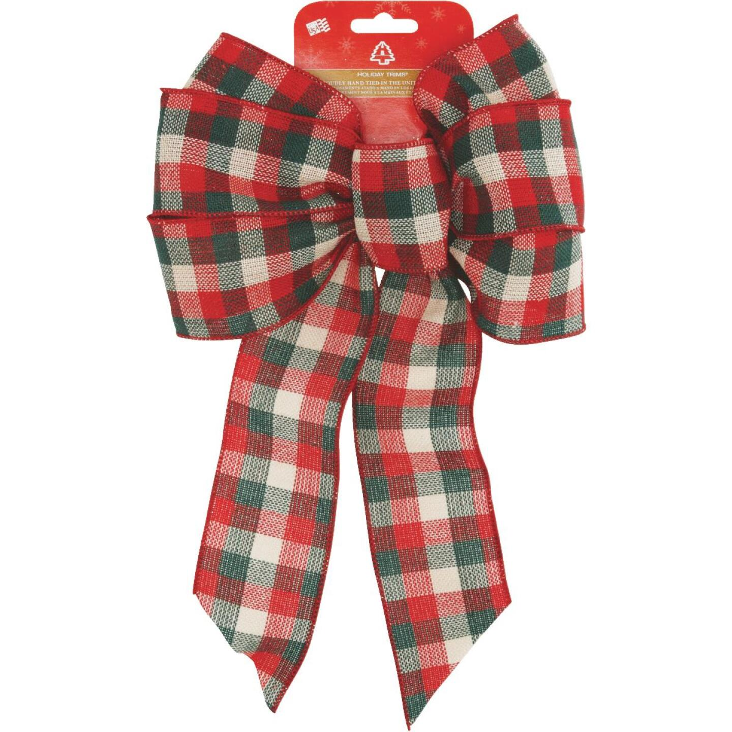 Holiday Trims 7-Loop 8-1/2 In. W. x 14 In. L. Assorted Plaid Fabric Christmas Bow Image 4