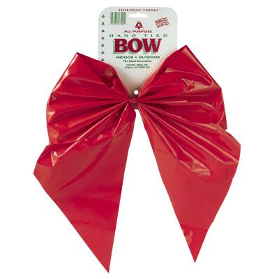 Holiday Trims 2-Loop 11 In. W. x 15-1/2 In. L. Red Plastic Outdoor Christmas Bow