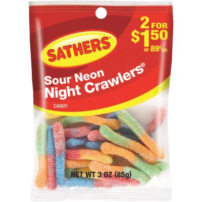 Sathers Assorted Sour Fruit Flavors 3 Oz. Neon Night Crawlers
